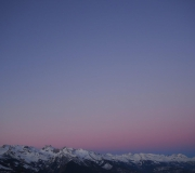 Uitzicht zonsondergang in de winter